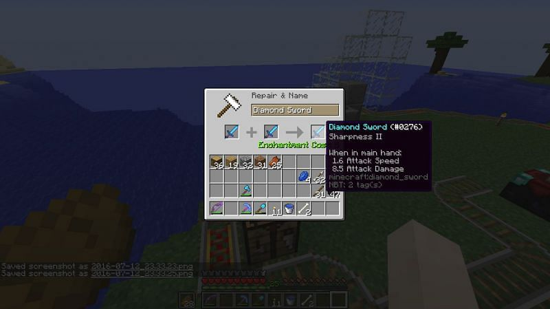 Sharpness equipped on a diamond sword (Image via Minecraft)