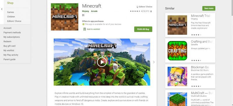 Android version of Minecraft is worth 650 INR (Image via Google Play Store)