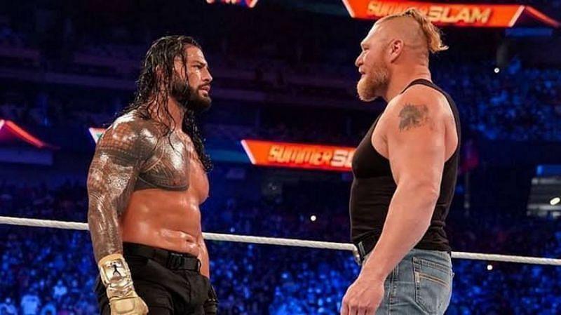 WWE सुपरस्टार्स रोमन रेंस और ब्रॉक लैसनर