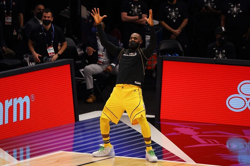 Lebron James #23 of Team LeBron celebrates against Team Durant during the first half in the 70th NBA All-Star Game at State Farm Arena on March 07, 2021 in Atlanta, Georgia.