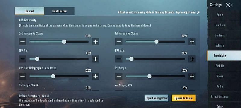PUBG Mobile ADS sensitivity settings for thumb players (Image via PUBG Mobile)