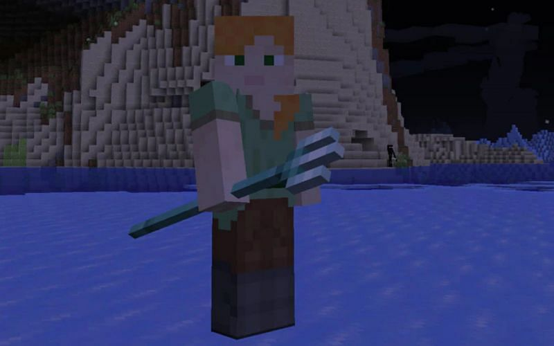 Image of a player holding a trident. (Image via Minecraft)