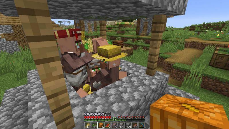 Villager stuck inside well (Image via Minecraft)