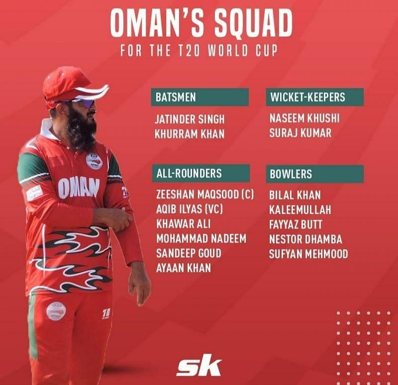 Oman's 2021 T20 world cup squad