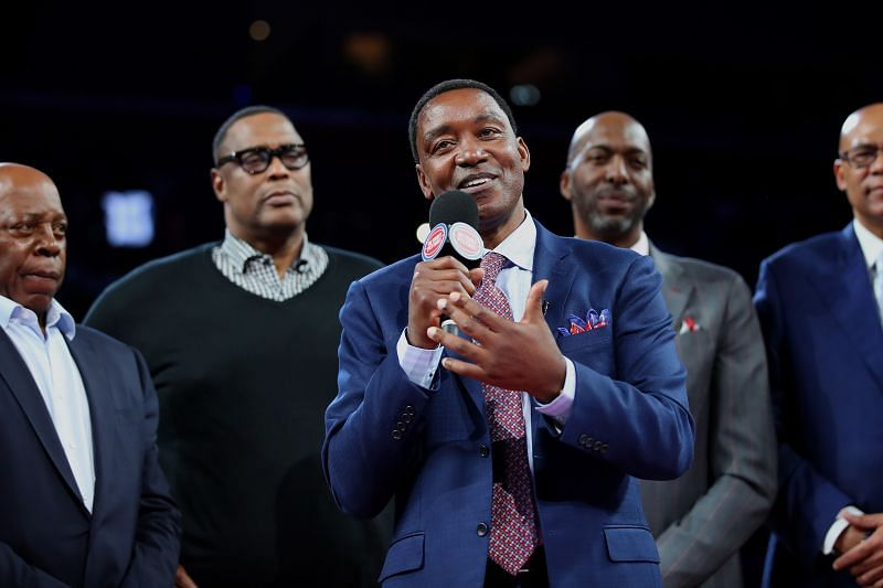Former Detroit Piston Isiah Thomas talks to the crowd during a celebration of the 1989 and 1990 World Championship Detroit Pistons
