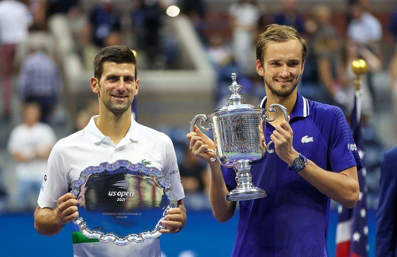 Daniil Medvedev (R) and Novak Djokovic