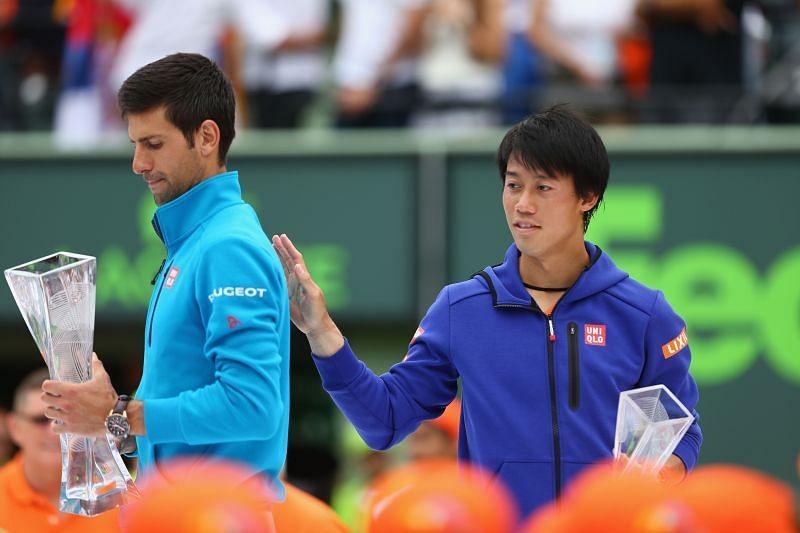 Novak Djokovic (L) and Kei Nishikori at the 2016 Miami Open
