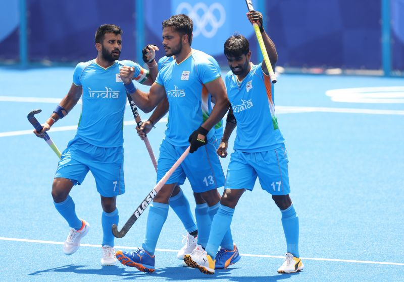 Harmanpreet Singh flanked by Varun Kumar and Sumit at the Tokyo Olympics 2021