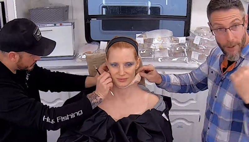 Jessica Chastain is unrecognizable with a prosthetic makeover (Image via Searchlight Pictures)