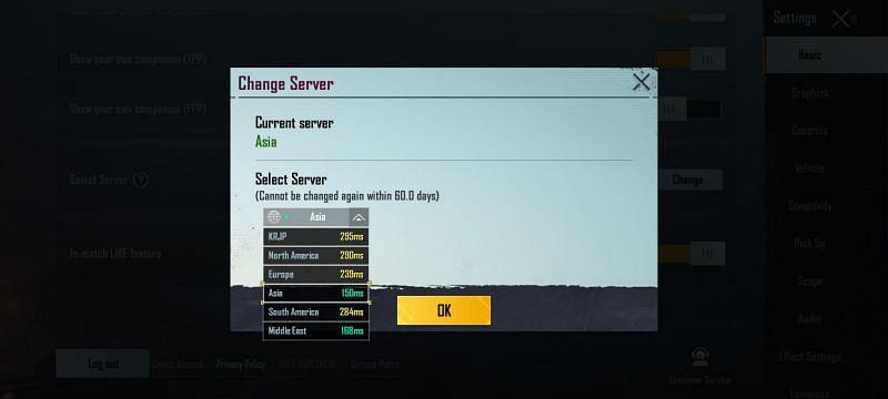 Choose the nearest server for better ping