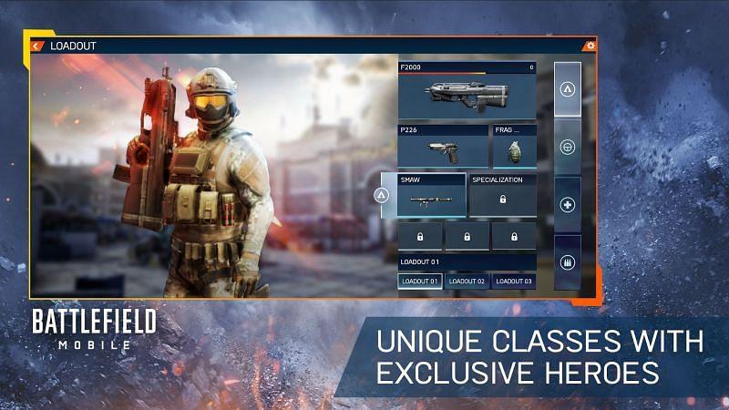 Özel kahramanlara sahip benzersiz sınıflar (Battlefield Mobile Google Play Uygulaması aracılığıyla görüntü)