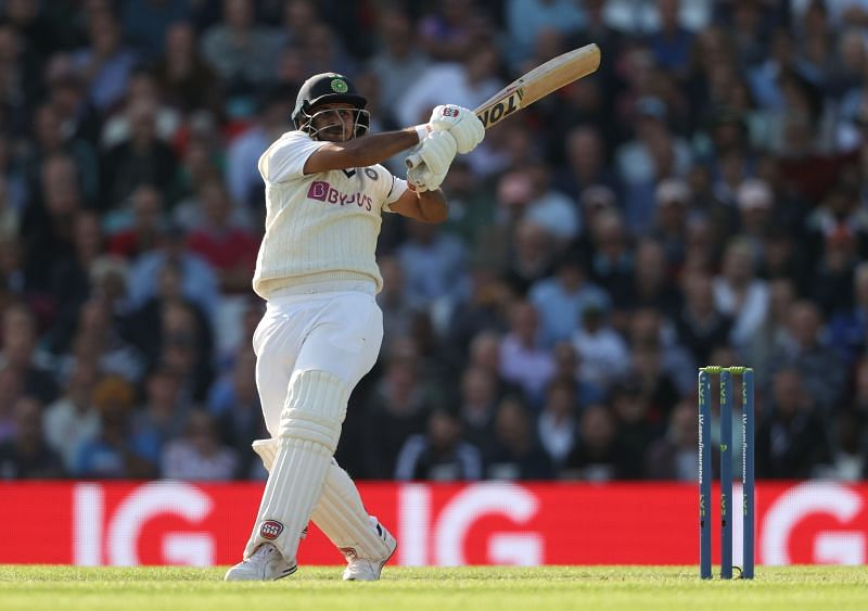 Shardul Thakur en route his first fifty in the Oval Test.