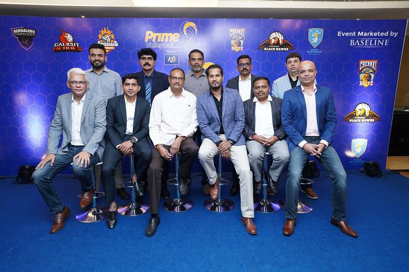 The CEO and the team owners of the Prime Volleyball League with former India international PV Ramana.