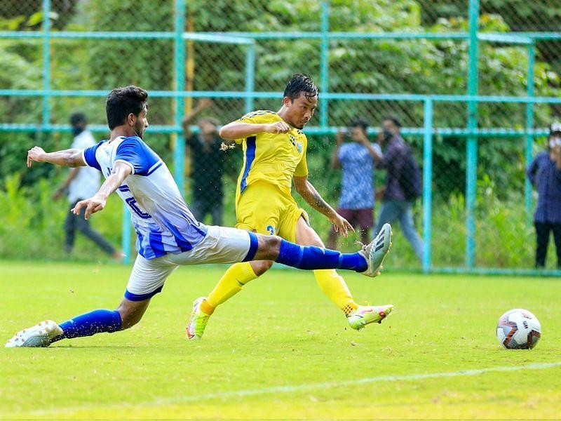 Seityasen Singh scores a goal for KBFC against J&K Bank (Image Courtesy: KBFC Twitter)