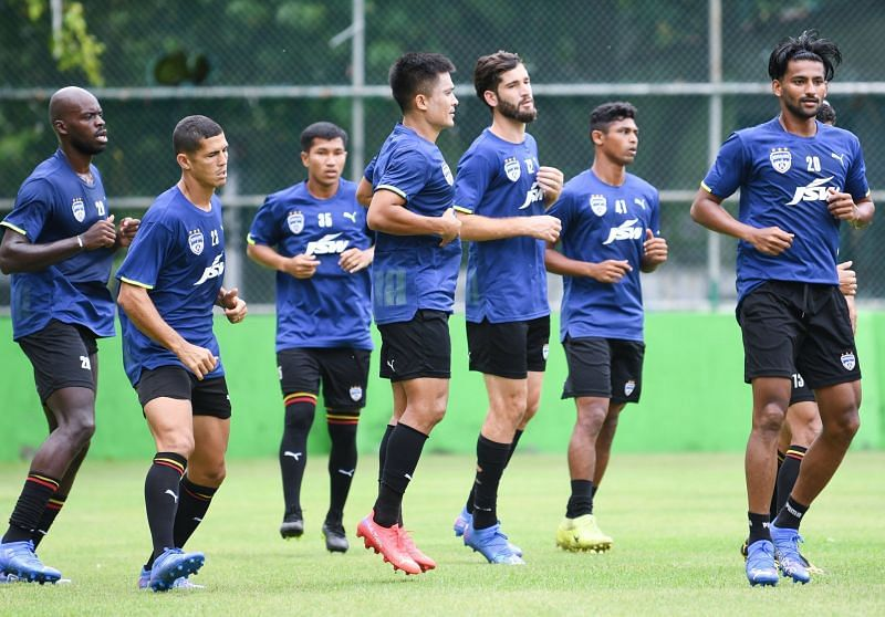 A file photo of the Bengaluru FC squad during a training session.