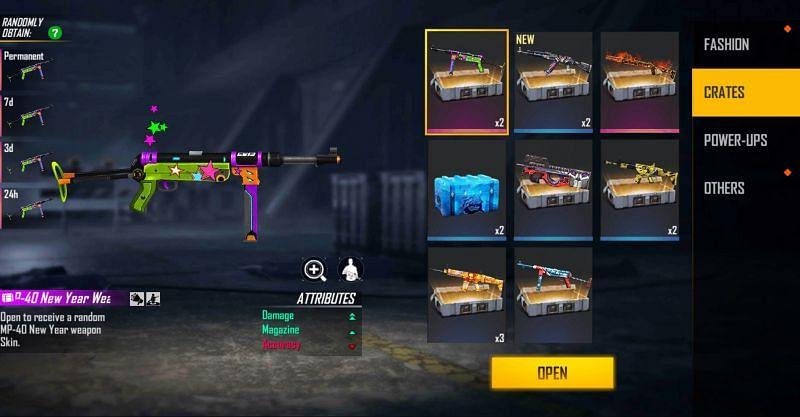 The crates can provide numerouus rewards (Image via Free Fire)