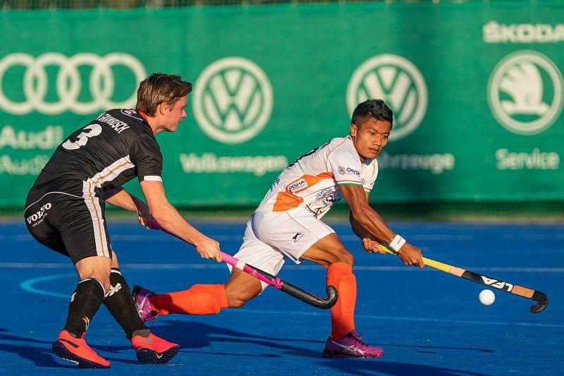 Indian men's hockey team midfielder Nilakanta Sharma.