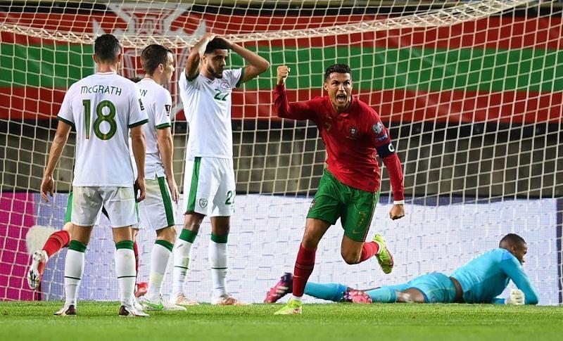 आयरलैंड के खिलाफ रोनाल्डो ने पुर्तगाल की ओर से निर्णायक गोल किया।