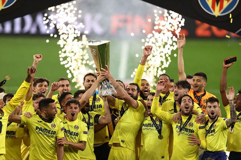Villarreal Celebrate After Winning The UEL Trophy.