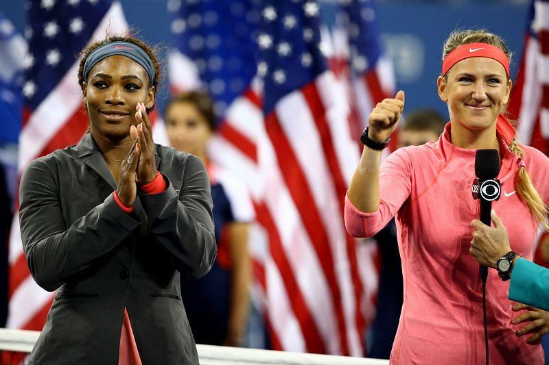 Serena Williams and Victoria Azarenka at the 2013 US Open