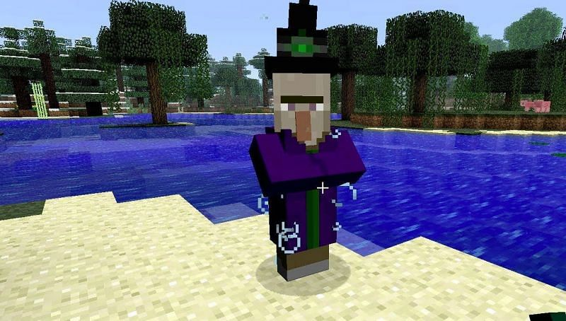 A witch could be a villager that was recently struck by lightning and turned into one (Image via Minecraft)