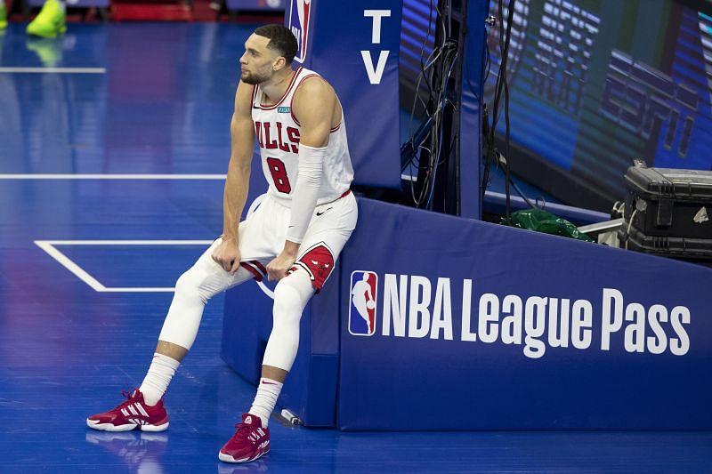 Zach <a href='https://www.sportskeeda.com/player/zach-lavine' target='_blank' rel='noopener noreferrer'>LaVine</a> with the Chicago Bulls