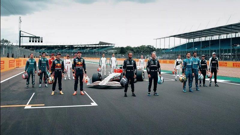 F1 drivers at the 2022 car unveil Image Credits: Liberty Media