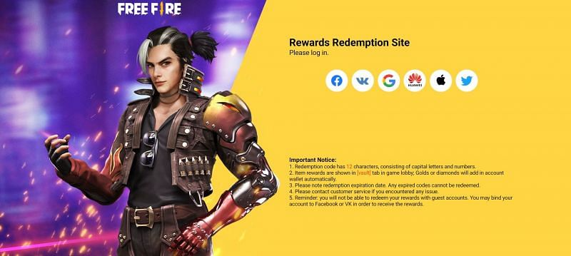 Gamers can log into the Rewards Redemption site to claim the rewards (Image via Free Fire)