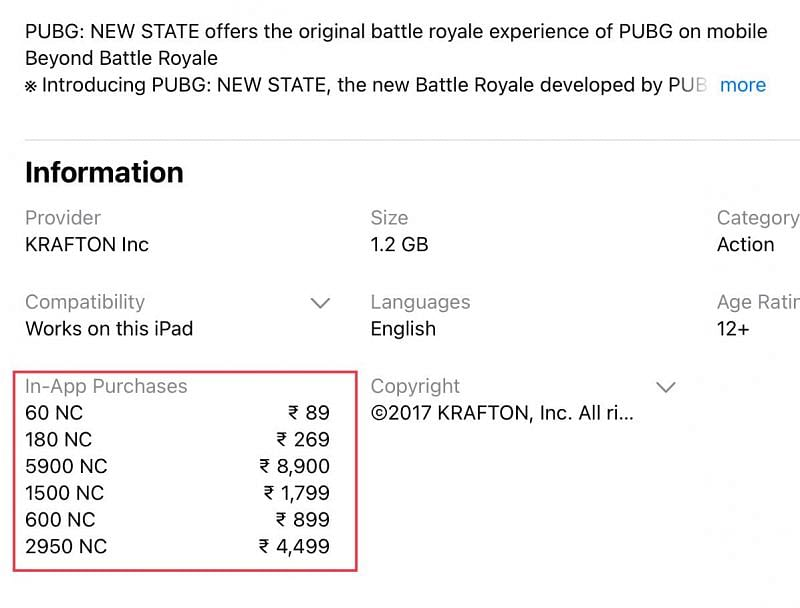 All the prices of the in-app purchase (Image via Apple App Store)