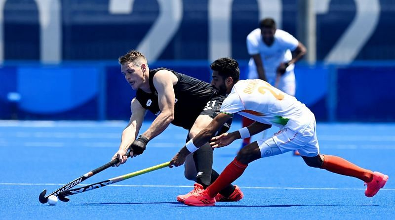 Indian hockey forward Shamsher Singh in action at the Tokyo Olympics