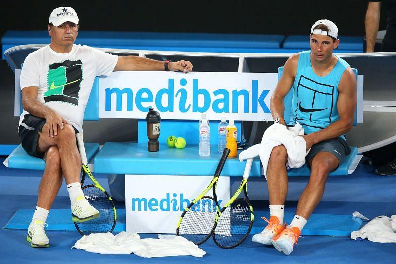 Toni Nadal (L) and Rafael Nadal ahead of the 2017 Australian Open