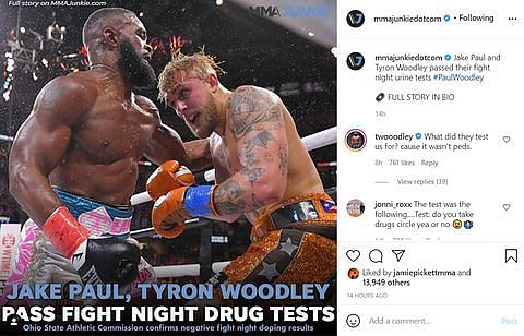 Tyron Woodley comments on MMA Junkie's Instagram post.
