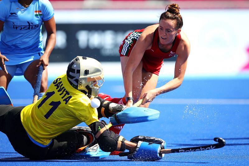 Indian goalkeeper Savita Punia in action at the Tokyo Olympics