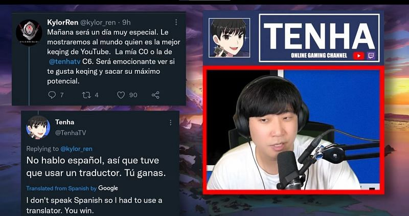 Tenha showing the discussion between the two streamers that began this incident (Image via Tenha)
