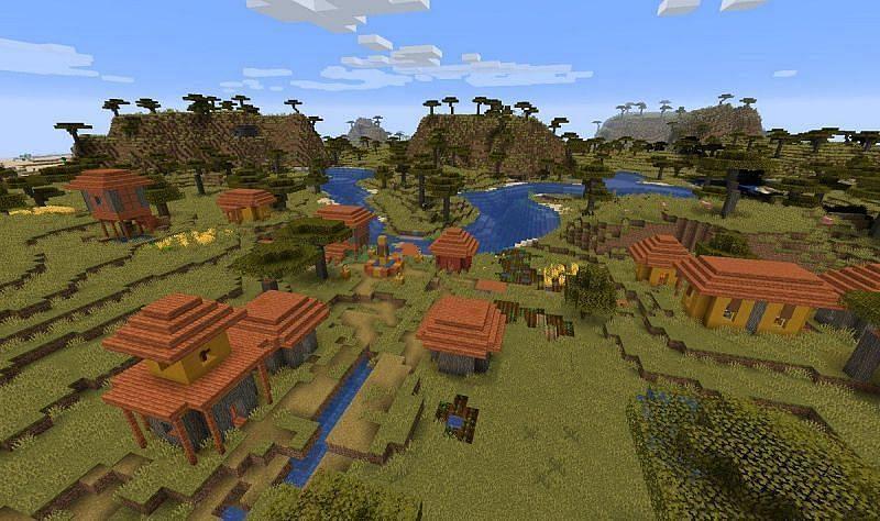The savanna village (Image via Minecraft)