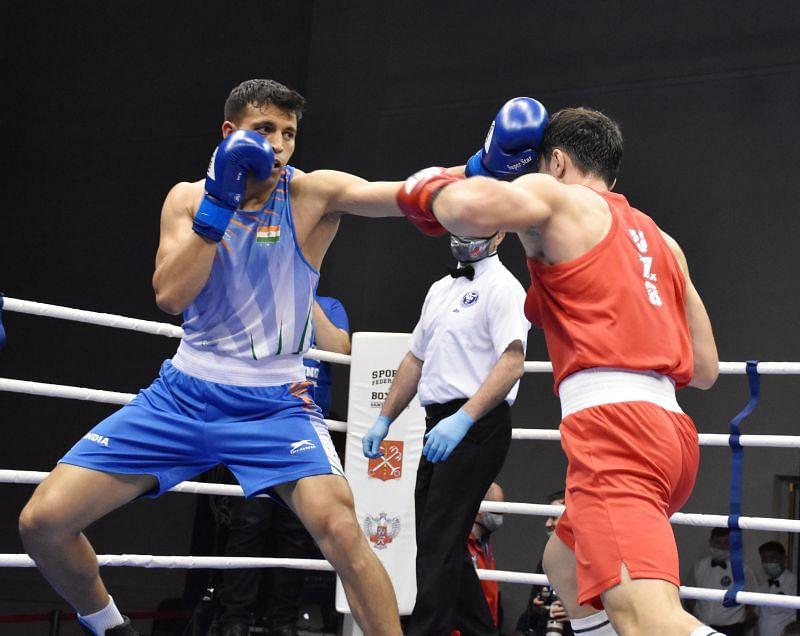 Haryana boxer Sumit Sangwan.in action