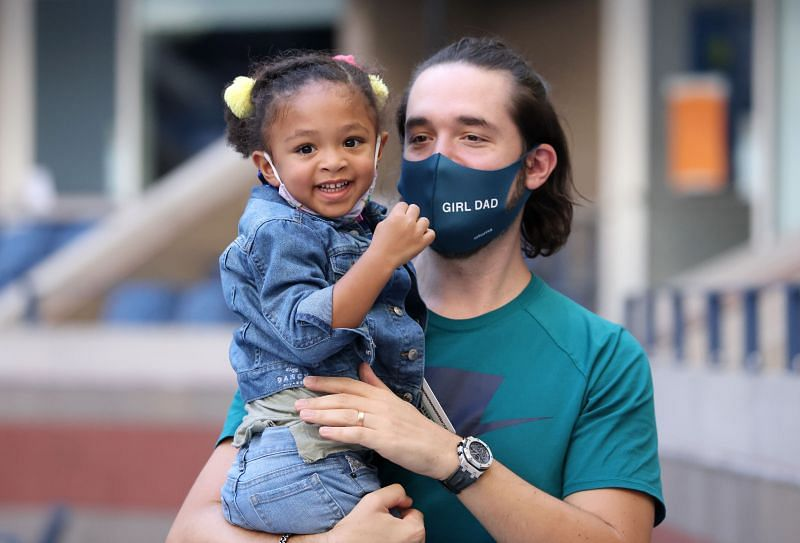 Serena Williams' husband Alexis Ohanian and daughter Olympia at the 2020 US Open.