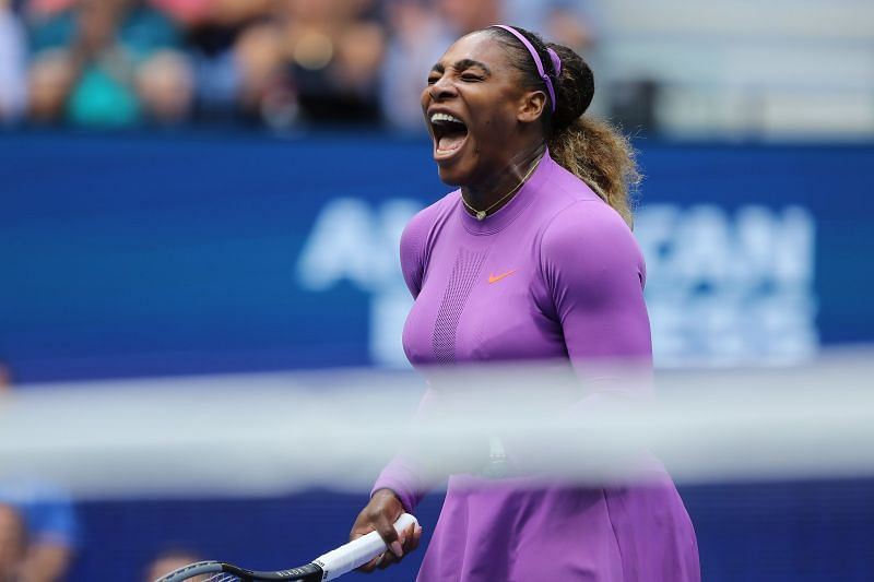 Serena Williams celebrates winning a point at the 2019 US Open.