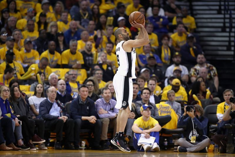 Tony Parker #9 of the San Antonio Spurs in action against the Golden State Warriors during Game 2 of Round 1 of the 2018 NBA Playoffs at ORACLE Arena on April 16, 2018 in Oakland, California.