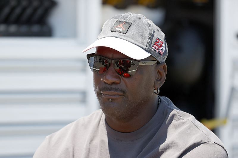 NBA Hall of Famer Michael Jordan and co-owner of 23XI Racing waits in the #23 DoorDash Toyota pit area prior to the NASCAR Cup Series Toyota/Save Mart 350 at Sonoma Raceway on June 06, 2021 in Sonoma, California.