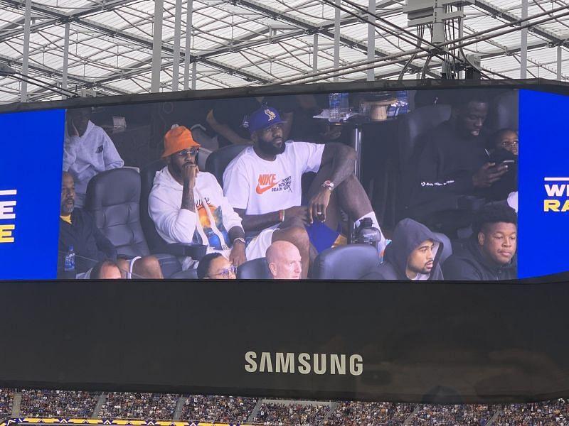 Carmelo Anthony and LeBron James at SoFi Stadium/Image Credit: Lindsey Thiry