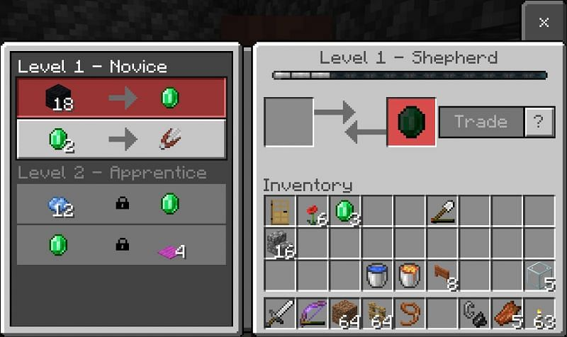 Trade with the villagers (Image via Minecraft)