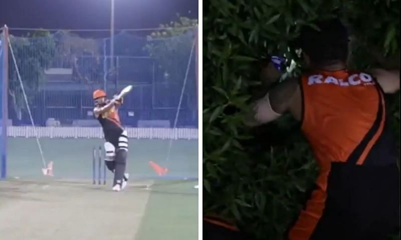 Manish Pandey fetches the ball after hitting a six in SRH training