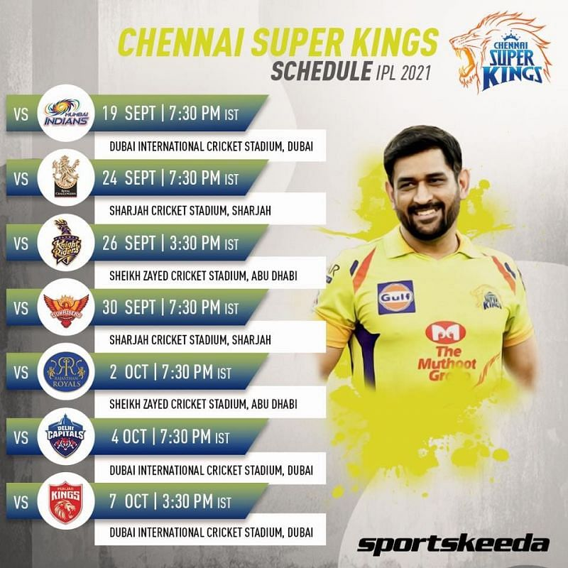 CSK Schedule IPL 2021