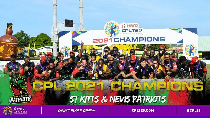 Dwayne Bravo and the rest of his St. Kitts & Nevis Patriots pose with the CPL title [Image Credit- CPLT20]