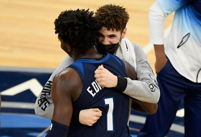 LaMelo Ball and Anthony Edwards greet each other in a Charlotte Hornets v Minnesota Timberwolves