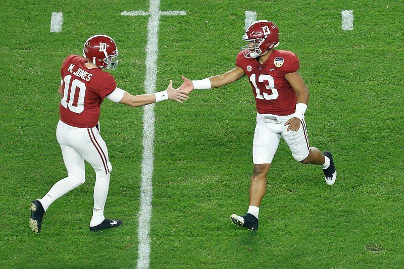 <a href='https://www.sportskeeda.com/player/mac-jones' target='_blank' rel='noopener noreferrer'>Mac Jones</a> #10 and Tua Tagovailoa #13 at Alabama