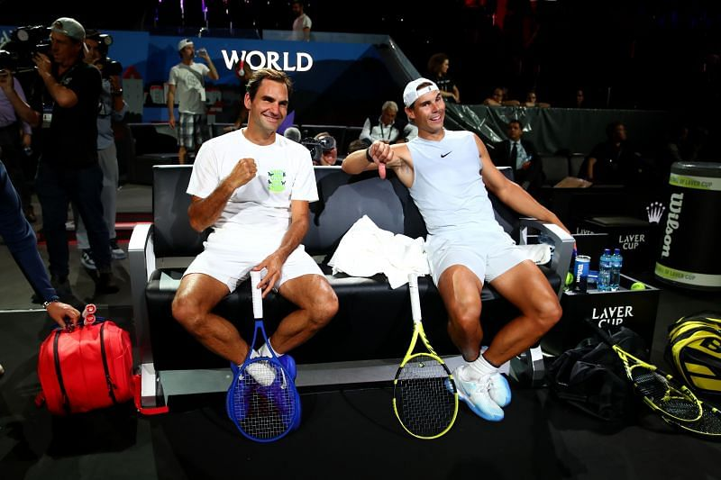 Roger Federer and Rafael Nadal have some fun at the 2019 Laver Cup
