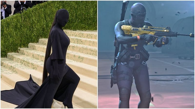 Kim Kardashian's Met Gala outfit has been compared to Call of Duty Warzone's Roze skin (Image via Sportskeeda)