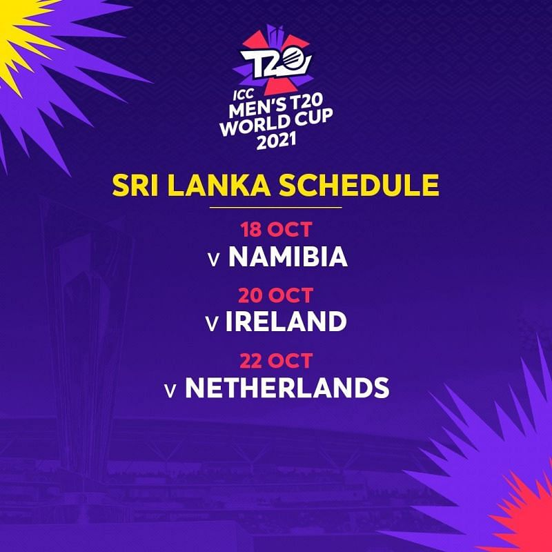 T20 World Cup 2021 Schedule - Sri Lanka